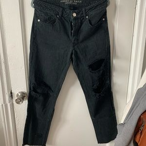 AE Distressed Mom Jeans